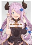 1girl bare_shoulders blue_eyes blush breasts draph glove_spread gloves granblue_fantasy grey_background hair_ornament hair_over_one_eye hinami_(hinatamizu) horns large_breasts lavender_hair long_hair looking_at_viewer narmaya_(granblue_fantasy) open_mouth pointy_ears sexually_suggestive simple_background smile solo