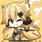 1girl 7:08 animal_ears bangs black_eyes blonde_hair blush_stickers bullet cat_ears chibi commentary eyebrows_visible_through_hair fang fang_out girls_frontline gloves gun hair_between_eyes hair_ornament highres holding holding_gun holding_weapon idw_(girls_frontline) long_hair necktie one_eye_closed parker-hale_idw shirt shorts simple_background smile smoke smoking_gun solo standing twintails weapon yellow_background