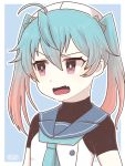 1girl 810_(dadmiral) ahoge alternate_hairstyle artist_name blonde_hair blue_background blue_hair blue_sailor_collar commentary_request fang gradient_hair hat highres kantai_collection long_hair looking_to_the_side multicolored_hair open_mouth red_eyes sado_(kantai_collection) sailor_collar sailor_hat skin_fang solo twintails two-tone_background upper_body white_background white_headwear