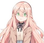 1girl choker eyebrows_visible_through_hair green_eyes hair_between_eyes long_hair long_sleeves looking_at_viewer nippon_ichi_no_koukousei_majutsushi_isekai_dorei_shoujo_wo_morau nyum pink_hair simple_background solo staring upper_body very_long_hair white_background