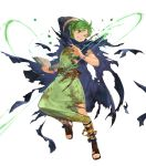 1boy belt book bracelet cape fire_emblem fire_emblem:_mystery_of_the_emblem fire_emblem_heroes full_body green_eyes green_hair highres hood jewelry leaf mayo_(becky2006) merric_(fire_emblem) official_art one_eye_closed sandals solo teeth torn_clothes transparent_background