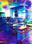 1girl abstract black_hair bubble chalkboard colorful day desk floating_hair from_behind highres indoors jacket kneehighs long_sleeves no_shoes original pleated_skirt school school_desk school_uniform skirt solo sunlight surreal wataboku window