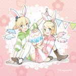 1boy 1girl animal_ears bangs binchou_maguro blonde_hair blue_eyes bow commentary crown easter easter_egg egg floral_print green_bow hair_bow hair_ornament hairband hairclip hat highres holding_egg hood hoodie kagamine_len kagamine_rin knees_up lace_background looking_at_viewer mini_hat open_mouth polka_dot polka_dot_background rabbit_ears short_ponytail sitting smile string_of_flags striped_hoodie swept_bangs thigh-highs twitter_username vocaloid white_legwear wings