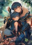 2boys all_fours anniversary armor bii_(chigonez) bike_shorts black_shorts blue_cape blue_hair cape child dual_persona english_commentary fire_emblem fire_emblem:_monshou_no_nazo_(anime) fire_emblem:_mystery_of_the_emblem fire_emblem:_mystery_of_the_emblem_ova fire_emblem:_shin_ankoku_ryuu_to_hikari_no_tsurugi fire_emblem_11 fire_emblem_3 fire_emblem_heroes fire_emblem_mystery_of_the_emblem fire_emblem_shadow_dragon highres intelligent_systems male_focus marth_(fire_emblem) multiple_boys nintendo shorts sidelocks smile super_smash_bros. sword teenage tiara time_paradox tunic weapon young_adult younger