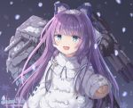 1girl animal_ears arm_up azur_lane blue_eyes blush brown_sweater coat dizzyworld2 eyebrows_visible_through_hair fake_animal_ears fur-trimmed_coat fur_trim hair_ornament hair_ribbon long_hair long_sleeves looking_at_viewer night open_mouth ponytail purple_hair ribbon shirt sleeves_past_wrists smile snow snowing solo sweater tashkent_(azur_lane) torpedo turret very_long_hair very_long_sleeves white_coat winter_clothes