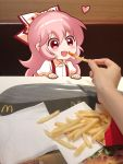 1girl blush bow collared_shirt disembodied_hands eyebrows_visible_through_hair feeding food french_fries fujiwara_no_mokou hair_bow heart highres long_hair looking_away mcdonald's open_mouth photo pink_hair puffy_short_sleeves puffy_sleeves red_eyes shangguan_feiying shirt short_sleeves smile suspenders touhou white_bow white_shirt