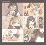 akagi_(kantai_collection) alcohol bangs black_hair blonde_hair blush bottle breasts brown_hair capelet closed_eyes double_v flower glasses gloves graf_zeppelin_(kantai_collection) hair_censor hair_flower hair_ornament headgear headphones heart kaga_(kantai_collection) kantai_collection kasumi_(skchkko) long_hair lying multiple_girls mutsu_(kantai_collection) nagato_(kantai_collection) nude on_stomach ooyodo_(kantai_collection) open_mouth pola_(kantai_collection) ponytail remodel_(kantai_collection) ro-500_(kantai_collection) sailor_collar school_uniform serafuku side_ponytail smile swimsuit twintails v video_call