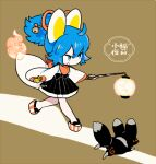 1girl bangs bell blue_eyes blue_hair brown_background fire fox hair_between_eyes holding l_hakase lantern long_hair long_sleeves original ponytail solo striped_footwear walking wide_sleeves