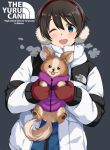 1girl :3 :p ;d animal bangs black_background blue_eyes blush brown_hair chikuwa_(yurucamp) clothes_writing coat commentary_request copyright_name earmuffs english_text eyebrows_visible_through_hair holding holding_animal holding_dog long_sleeves looking_at_viewer mirai_denki one_eye_closed open_clothes open_coat open_mouth red_mittens round_teeth saitou_ena short_hair simple_background smile teeth the_north_face tongue tongue_out upper_body upper_teeth white_coat yurucamp zipper