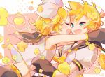 1boy 1girl aqua_neckwear arms_around_neck bangs bare_shoulders belt black_collar black_sleeves blonde_hair blue_eyes bow closed_eyes collar commentary crop_top detached_sleeves fang flower from_side grey_sleeves hair_bow hair_ornament hairclip half-closed_eyes headphones heart highres hug kagamine_len kagamine_rin light_blush looking_at_another nckkk necktie open_mouth sailor_collar school_uniform shirt short_hair short_ponytail short_sleeves sleeveless sleeveless_shirt smile speech_bubble spiky_hair spoken_heart swept_bangs upper_body vocaloid white_bow white_shirt yellow_neckwear