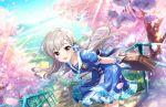 blue_eyes blush grey_hair hisakawa_hayate idolmaster_cinderella_girls_starlight_stage long_hair seifuku smile spring