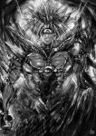 1boy artist_name aura cowboy_shot cyclops glint greyscale grin hand_up highres looking_at_viewer lord_boros male_focus monochrome one-eyed one-punch_man pointy_ears sharp_teeth smile solo teeth the_golden_smurf