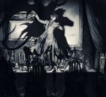 6+boys alcohol blood candelabra candle chair closed_eyes closed_mouth cup curtains dancing death demon_tail demon_wings different_shadow drinking_glass greyscale highres indoors male_focus monochrome multiple_boys original pigeon666 portrait shadow signature sitting spill standing table tail wine wine_glass wings