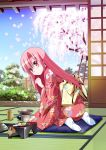 1girl blush cherry_blossoms commentary_request day food fruit hata_kenjirou hayate_no_gotoku! highres indoors japanese_clothes katsura_hinagiku kimono long_hair looking_at_viewer petals pink_hair plate sitting solo tree yellow_eyes