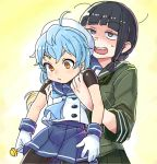 2girls ahoge bangs beret black_hair blonde_hair blue_hair blue_skirt blunt_bangs blush candy carrying closed_mouth commentary_request eyebrows_visible_through_hair food gloves green_skirt hat holding holding_lollipop kantai_collection kitakami_(kantai_collection) lollipop long_hair long_sleeves messy_hair mizuki_kyouto multicolored_hair multiple_girls open_mouth sado_(kantai_collection) sailor_collar school_uniform serafuku shaded_face short_sleeves sidelocks simple_background skirt sweat white_gloves white_headwear