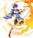 1boy alpha_transparency attack bike_shorts blue_eyes blue_hair boots brown_footwear cape determined fire fire_emblem fire_emblem:_mystery_of_the_emblem fire_emblem_heroes gem highres male_focus marth_(fire_emblem) official_art open_mouth solo tiara transparent_background tunic wada_sachiko younger