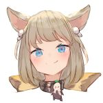 >:) 1girl animal_ears bangs blue_eyes blush brown_hair cat_ears closed_mouth commentary_request eyebrows_visible_through_hair final_fantasy final_fantasy_xiv hair_ornament head looking_at_viewer lowres miqo'te simple_background smile solo tota_(sizukurubiks) white_background