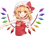 1girl :d ascot blonde_hair bow eyebrows_visible_through_hair fang flandre_scarlet hand_up hat hat_bow hona_(pixiv7939518) looking_at_viewer open_mouth orange_neckwear pillow_hat puffy_short_sleeves puffy_sleeves rainbow_order red_bow red_eyes red_vest short_sleeves simple_background smile solo touhou upper_body vest white_background wings