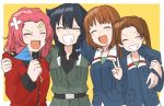 4girls :d anzio_military_uniform arm_around_shoulder bandaid_on_forehead bandaid_on_head bangs belt black_belt black_hair black_shirt blue_jacket blue_ribbon braid brown_hair closed_eyes commentary_request dress_shirt epaulettes facing_viewer fang flag girls_und_panzer green_shirt grey_jacket grin group_hug hair_ribbon highres holding holding_flag hug jacket kadotani_anzu long_hair long_sleeves medium_hair military military_uniform multiple_girls nishizumi_miho ooarai_military_uniform open_mouth outside_border parted_bangs pepperoni_(girls_und_panzer) red_jacket redhead ribbon rosehip_(girls_und_panzer) shirt short_hair side_braid skin_fang smile st._gloriana's_military_uniform twintails uniform v wing_collar yellow_background zono_(inokura_syuzo029)