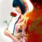 1girl abstract black_hair blue_neckwear closed_eyes closed_mouth collared_shirt dress_shirt flower from_side holding holding_flower long_sleeves necktie nose original profile red_flower red_lips shirt short_hair simple_background solo striped striped_neckwear upper_body wataboku white_background white_shirt wing_collar