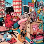 1girl album_cover bangs bedroom black_eyes black_hair blue_shorts blunt_bangs book_stack bookshelf boombox box cable can cardboard_box chair computer controller cover crisalys crossed_ankles curtains desk desk_lamp double_bun earphones earphones electric_guitar feet_on_table figure floppy_disk fox_mask from_side game_console game_controller guitar highres hood hood_down hoodie indoors instrument keyboard_(computer) lamp legs_together legs_up long_sleeves looking_away magazine mask mask_removed monitor nike office_chair original pc-98 pc_engine plant poster_(object) red_hoodie rug screentones shoes shorts single_earphone_removed sitting sneakers soda_can sticky_note stuffed_animal stuffed_bird stuffed_penguin stuffed_toy walkman window wooden_floor