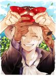 1boy ^_^ ascot blonde_hair blue_sky brown_gloves brown_headwear clenched_teeth closed_eyes clouds clover collar cup eyebrows_visible_through_hair gloves hand_on_headwear hands hat holding holding_cup leaf leaves_in_wind long_sleeves male_focus meiji_(pecosyr5) monkey_d_luffy one_piece outdoors portgas_d_ace sabo_(one_piece) sakazuki scar short_hair sky smile solo teeth upper_body white_neckwear