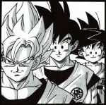 3boys age_progression arms_at_sides backlighting bangs black_border black_eyes black_hair border child close-up closed_mouth clothes_writing collarbone dot_nose dougi dragon_ball dragon_ball_(classic) dragon_ball_z face frown greyscale grin happy height_difference highres looking_at_viewer male_focus monochrome multiple_boys multiple_persona muscle official_art outline pectorals shaded_face simple_background smile son_gokuu spiky_hair super_saiyan toriyama_akira upper_body v-shaped_eyebrows white_background white_outline