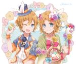 1boy 1girl animal_ears basket blonde_hair blue_eyes closed_mouth commentary dress_flower easter easter_egg egg flower green_jacket hair_flower hair_ornament hand_up hat headphones headset holding_egg jacket kagamine_len kagamine_rin looking_at_viewer one_eye_closed open_mouth rabbit_ears ribbon shirt short_hair short_ponytail smile top_hat treble_clef utaori vest vocaloid white_shirt