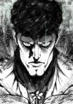 1boy cleft_chin closed_mouth commentary english_commentary facial_hair flower glowing glowing_eyes greyscale highres looking_at_viewer making-of_available male_focus manly monochrome one-punch_man portrait puri_puri_prisoner solo stubble the_golden_smurf