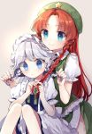 2girls apron beret black_neckwear blue_eyes blush commentary_request frills green_headwear green_neckwear green_skirt green_vest hat hong_meiling izayoi_sakuya knees_up long_hair maid_headdress multiple_girls neck_ribbon playing_with_another's_hair red_nails redhead ribbon risui_(suzu_rks) shirt short_sleeves side_slit signature silver_hair sitting skirt smile star touhou upper_body vest white_shirt