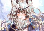 1girl animal_ear_fluff animal_ears arknights bead_necklace beads black_cloak black_hair braid circlet cloak closed_mouth english_commentary eyebrows_visible_through_hair eyelashes grey_eyes hair_between_eyes jewelry leopard_ears lips long_hair looking_at_viewer multicolored_hair necklace portrait pramanix_(arknights) ribbed_sweater side_braids silver_hair solo streaked_hair sweater turtleneck turtleneck_sweater twin_braids twitter_username two-tone_hair white_sweater wind yamoo_(oyakorodesu)