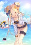 2girls abigail_williams_(fate/grand_order) ass_visible_through_thighs bikini blonde_hair blue_eyes blue_sky bow clouds cloudy_sky collarbone day double_bun emerald_float fate/grand_order fate_(series) hair_bow horn innertube kokusan_moyashi lavinia_whateley_(fate/grand_order) leaning_forward looking_at_viewer looking_back multiple_bows multiple_girls multiple_hair_bows navel ocean octopus one_eye_closed open_mouth scrunchie sidelocks sky smile sunglasses swimsuit thigh_gap thigh_scrunchie tokitarou_(fate/grand_order) umbrella white_hair white_skin wrist_scrunchie