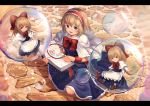 1girl alice_margatroid apron blonde_hair blue_dress blue_eyes book bow bowtie braid brown_footwear capelet cobblestone commentary day dress english_commentary french_braid hair_bow hairband highres holding holding_book in_bubble letterboxed lolita_hairband long_sleeves looking_at_viewer on_ground ookashippo open_book open_mouth outdoors red_neckwear shanghai_doll short_hair sitting smile soap_bubbles solo touhou waist_apron wariza white_capelet white_legwear