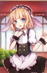 1girl :o animal_ears bangs black_dress blonde_hair blue_eyes blush breasts bunny_girl commentary_request dress eyebrows_visible_through_hair frills highres looking_at_viewer maid_dress maid_headdress nao_(okt8538) open_mouth original rabbit_ears short_sleeves small_breasts solo wrist_cuffs