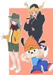 1boy 2girls absurdres animal_ears artist_request commentary_request dog dog_ears g11_(girls_frontline) girls_frontline hand_gesture hand_in_pocket highres long_hair microphone multiple_girls parappa parappa_the_rapper rapping shoes shorts smile sneakers twintails ump9_(girls_frontline) woollen_cap