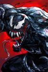 1boy bodysuit claws fangs hankuri long_tongue male_focus marvel mask muscle open_mouth red_background saliva sharp_teeth solo spider-man_(series) symbiote teeth tongue tongue_out venom_(marvel)