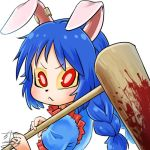 1girl :< ambiguous_red_liquid animal_ears avatar_icon blue_dress blue_hair braid chamaji commentary dress ear_clip eyebrows_visible_through_hair floppy_ears frilled_dress frills long_hair looking_at_viewer lowres mallet moon_rabbit ponytail rabbit_ears red_eyes seiran_(touhou) signature solo stain touhou twin_braids upper_body usagi_kine white_background