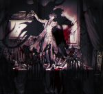 6+boys alcohol blood candelabra candle chair closed_eyes closed_mouth cup curtains dancing death demon_tail demon_wings drinking_glass highres indoors male_focus monochrome multiple_boys original pigeon666 portrait red_theme sitting spill standing table tail wine wine_glass wings