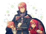 1boy 2girls armor brother_and_sister cape closed_eyes closed_mouth crossed_arms fire_emblem fire_emblem:_mystery_of_the_emblem fire_emblem_heroes hairband headband highres long_sleeves maria_(fire_emblem) michalis_(fire_emblem) minerva_(fire_emblem) multiple_girls nishimura_(nianiamu) open_mouth red_eyes redhead short_hair siblings sisters star twitter_username younger
