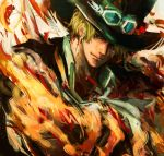 1boy ascot black_headwear blonde_hair closed_mouth collar fire goggles goggles_on_headwear hat highres looking_at_viewer male_focus one_piece sabo_(one_piece) scar short_hair solo top_hat torapunch upper_body white_neckwear