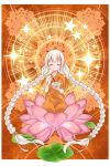 1girl ahoge bowl braid buddhism chopsticks closed_eyes closed_mouth commentary ekaki-ya_okamoto facing_viewer flower full_body highres holding holding_bowl holding_chopsticks kizuna_akari kneeling lily_pad long_hair lotus lotus_pedestal mandala orange_robe red_background robe silver_hair solo star sunburst twin_braids very_long_hair vocaloid voiceroid