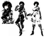 1girl andyface arm_blade bikini breasts collage commentary cyborg english_commentary exposed_muscle full_body gun handgun handy_ace_(andyface) high_contrast highres holding holding_gun holding_weapon holster jacket large_breasts leather leather_jacket leather_pants mechanical_arms mechanical_legs orange_eyes original pants pile_bunker scar scar_across_eye short_hair solo spot_color stitches swimsuit thigh_holster weapon