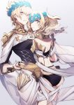 1boy 1girl armlet ass black_shirt blonde_hair blue_eyes bracer breasts bridal_gauntlets brother_and_sister castor_(fate/grand_order) closed_mouth collar diadem fate/grand_order fate_(series) gradient gradient_background grey_background highres holding_hands looking_back medium_hair metal_collar no-kan parted_lips pauldrons pollux_(fate/grand_order) shirt short_hair siblings small_breasts thighs twins white_robe