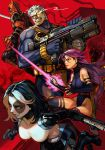 2boys 2girls belt_pouch black_hair bodysuit cable_(marvel) deadpool domino_(marvel) gun hankuri holding holding_gun holding_weapon leg_belt leotard looking_up marvel mask multiple_boys multiple_girls pouch psylocke purple_hair red_background short_hair sword thigh-highs weapon weapon_on_back