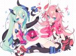 2girls :d absurdres asymmetrical_horns bangs bare_shoulders black_dress black_gloves black_legwear blade_(galaxist) blue_eyes blush bow breasts closed_mouth dress eyebrows_visible_through_hair fang flower garter_straps gloves green_hair hair_between_eyes hair_ornament highres honkai_(series) honkai_impact_3rd intertwined_tails liliya_olenyeva long_hair looking_at_viewer mechanical_horns mechanical_tail mismatched_gloves multiple_girls open_clothes open_dress open_mouth pink_hair polka_dot polka_dot_background red_bow red_flower red_rose rose rozaliya_olenyeva short_eyebrows siblings small_breasts smile sparkle symbol-shaped_pupils tail thick_eyebrows thigh-highs twins very_long_hair watermark white_background white_legwear