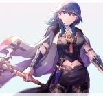 1girl armor black_shorts blue_eyes blue_hair byleth_(fire_emblem) byleth_(fire_emblem)_(female) closed_mouth dagger fire_emblem fire_emblem:_three_houses highres holding holding_sword holding_weapon m1n0f2e1 navel_cutout pantyhose sheath sheathed short_shorts shorts simple_background solo sword weapon