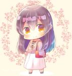 1girl akagi_(kantai_collection) bag bangs black_footwear blush brown_background brown_eyes brown_hair brown_jacket chibi closed_mouth commentary_request eyebrows_visible_through_hair floral_background full_body hair_between_eyes handbag jacket kantai_collection kouu_hiyoyo long_hair long_sleeves looking_at_viewer shirt skirt sleeves_past_wrists smile solo standing striped striped_shirt very_long_hair white_skirt