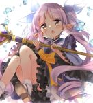 1girl bangs blush dress eyebrows_visible_through_hair frilled_dress frills hair_ribbon highres hikawa_kyouka hizuki_yayoi holding holding_weapon long_hair long_sleeves open_mouth pointy_ears princess_connect! princess_connect!_re:dive purple_hair ribbon sash sidelocks simple_background solo twintails water weapon white_background wide_sleeves yellow_eyes