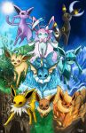 :3 absurdres blue_eyes brown_eyes closed_mouth eevee eeveelutions electricity espeon fire flareon gen_1_pokemon gen_2_pokemon gen_4_pokemon gen_6_pokemon glaceon grass highres ice jolteon leaf leafeon looking_at_another looking_at_viewer moon nature no_humans open_mouth pokemon pokemon_(creature) pokurimio red_eyes running sky smile sun sylveon umbreon vaporeon violet_eyes walking water