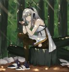 1girl antlers arknights black_gloves black_legwear breasts chinese_commentary closed_mouth crossed_legs day dress expressionless eyebrows_visible_through_hair firewatch_(arknights) forest full_body gloves green_shorts hair_between_eyes hair_flaps hairband harmonica highres instrument light_rays long_hair looking_at_viewer medium_breasts nature off-shoulder_dress off_shoulder outdoors pantyhose shoe_removed shoes shorts silver_hair single_shoe sitting sitting_on_tree_stump sleeveless solo sunlight thighs wenzheng147 white_dress yellow_eyes